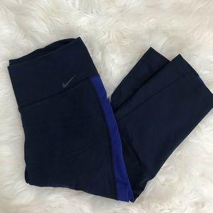 Nike Dri-Fit Navy Blue stripe capri leggings small